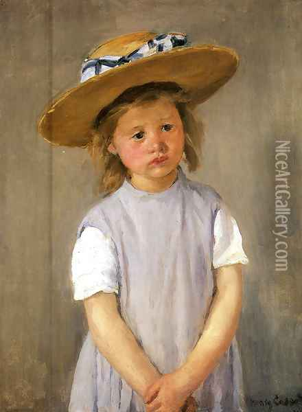 Child In A Straw Hat Oil Painting - Mary Cassatt