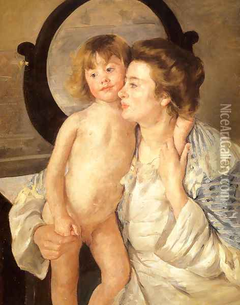 Mother And Child Aka The Oval Mirror Oil Painting - Mary Cassatt