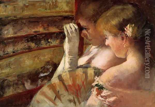 A Corner of the Loge (or In the Box) Oil Painting - Mary Cassatt