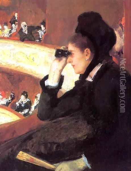 At the Francais, a Sketch (or At the Opera) Oil Painting - Mary Cassatt