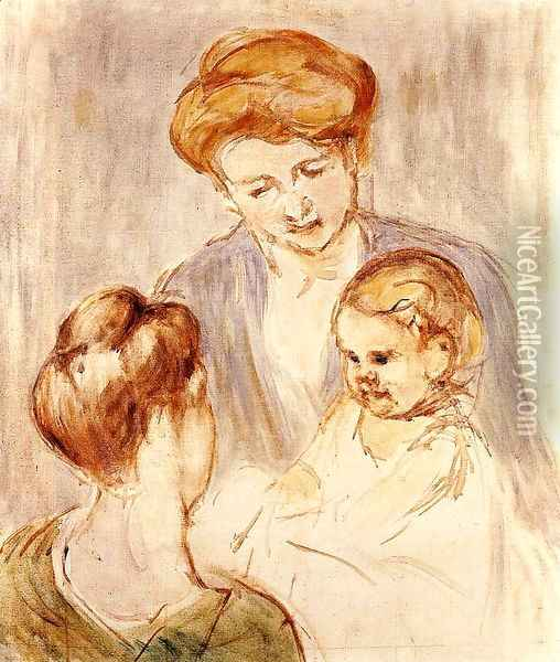 A Baby Smiling At Two Young Women Oil Painting - Mary Cassatt