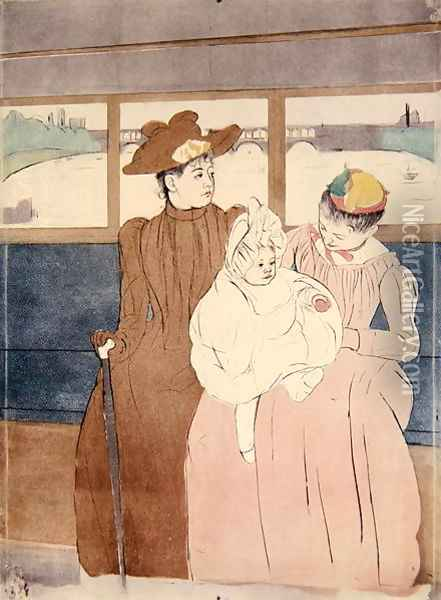 In the Omnibus (The Tramway) 1891 Oil Painting - Mary Cassatt