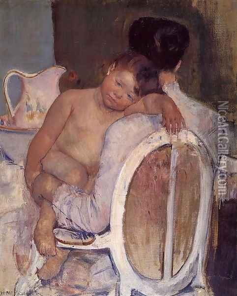 Mother Holding A Child In Her Arms Oil Painting - Mary Cassatt