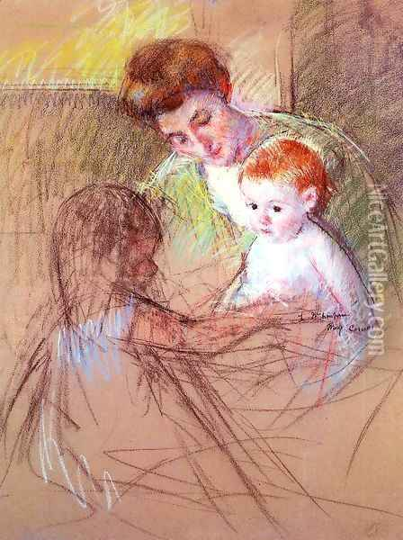 Mother And Daughter Looking At The Baby Oil Painting - Mary Cassatt