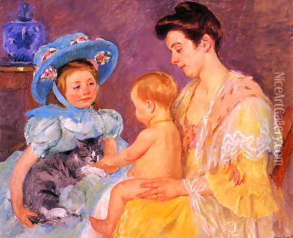 Children Playing With A Cat Oil Painting - Mary Cassatt