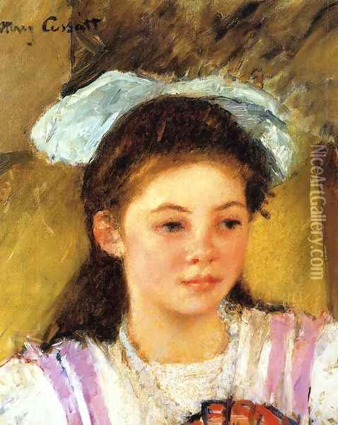 Ellen Mary Cassatt With A Large Bow In Her Hair Oil Painting - Mary Cassatt