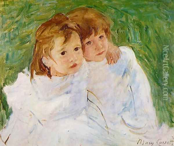 The Sisters, c.1885 Oil Painting - Mary Cassatt