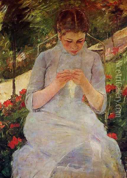 Young Woman Sewing in the garden, c.1880-82 Oil Painting - Mary Cassatt