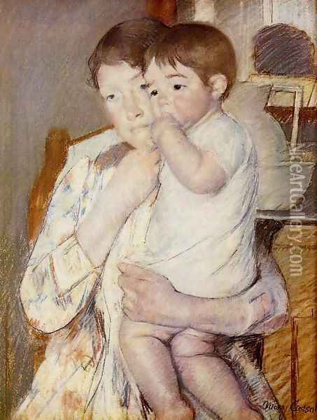 Baby in His Mother's Arms, Sucking His Finger Oil Painting - Mary Cassatt