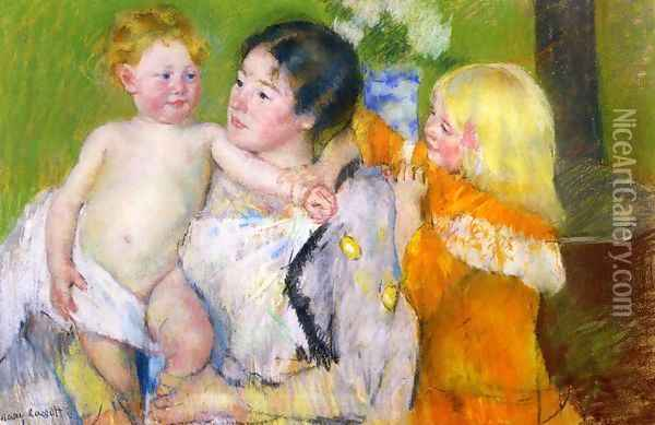 After The Bath Oil Painting - Mary Cassatt