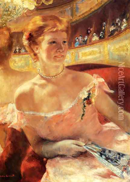Woman With A Pearl Necklace In A Loge Oil Painting - Mary Cassatt