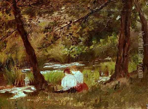 Two Women Seated By A Woodland Stream Oil Painting - Mary Cassatt