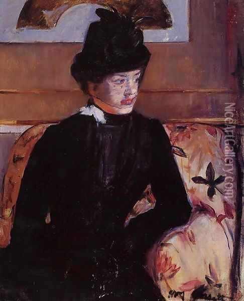 Portrait Of Madame J Aka Young Woman In Black Oil Painting - Mary Cassatt