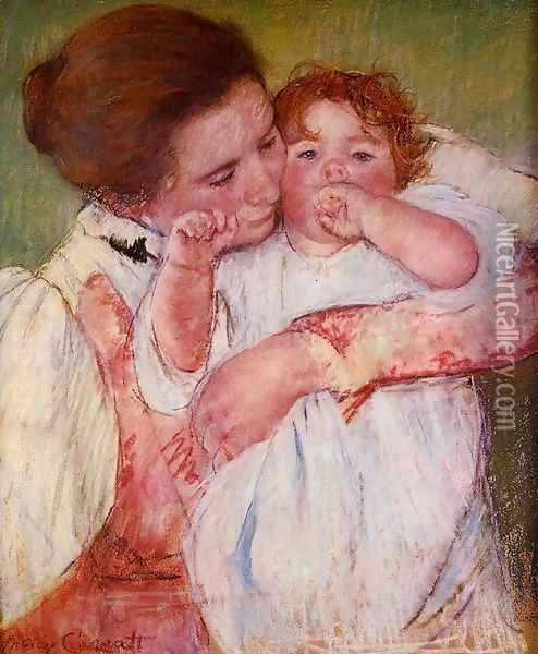 Little Ann Sucking Her Finger Embraced By Her Mother Oil Painting - Mary Cassatt