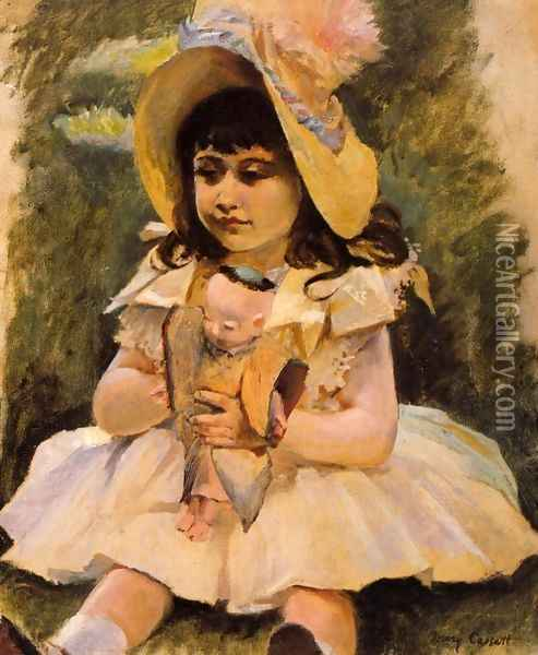 Little Girl With A Japanese Doll Oil Painting - Mary Cassatt
