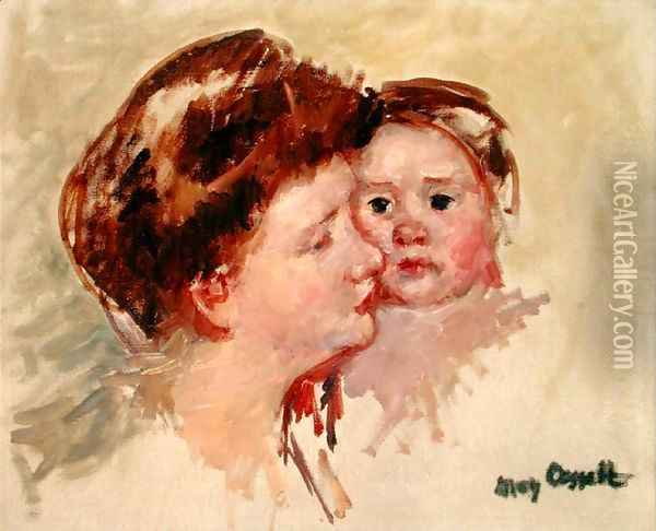 Mother in Profile with Baby Cheek to Cheek (No.2), c.1909 Oil Painting - Mary Cassatt