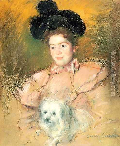Woman In Raspberry Costume Holding A Dog Oil Painting - Mary Cassatt