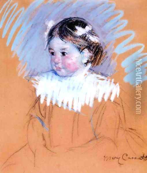 Bust Of Ellen Wiith Bows In Her Hair Oil Painting - Mary Cassatt