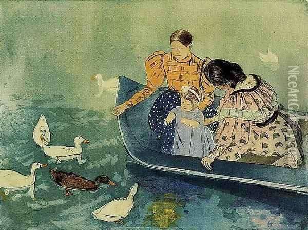 Feeding The Ducks Oil Painting - Mary Cassatt
