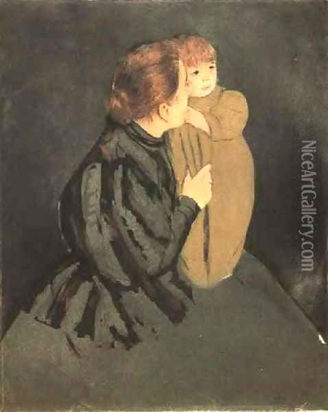 Peasant Mother And Child Oil Painting - Mary Cassatt