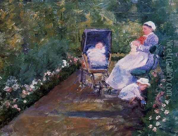 Children In A Garden Oil Painting - Mary Cassatt