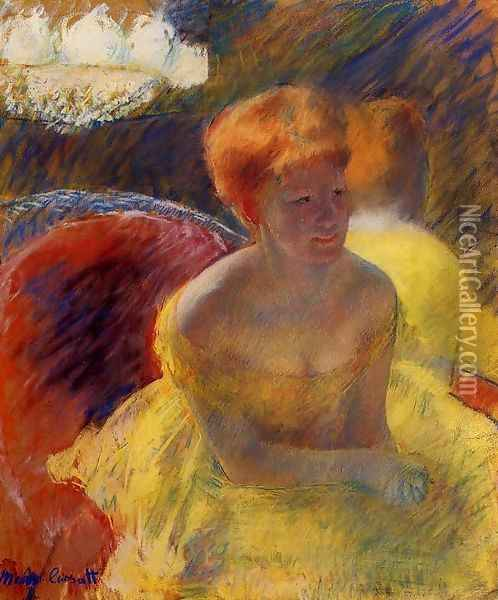 At The Theater Aka Lydia Cassatt Leaning On Her Arms Seated In A Loge Oil Painting - Mary Cassatt
