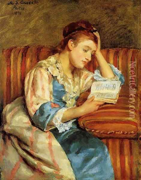 Mrs. Duffee Seated on a Striped Sofa, Reading Oil Painting - Mary Cassatt