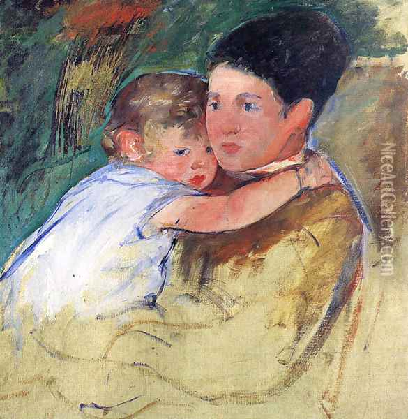 Sketch Of Anne And Her Nurse Oil Painting - Mary Cassatt