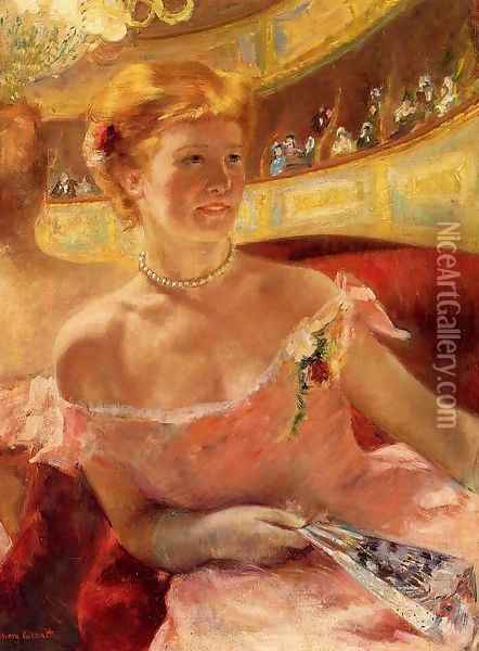 Woman In A Loge Oil Painting - Mary Cassatt