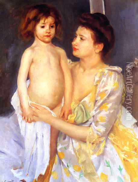 Jules Being Dried By His Mother Oil Painting - Mary Cassatt