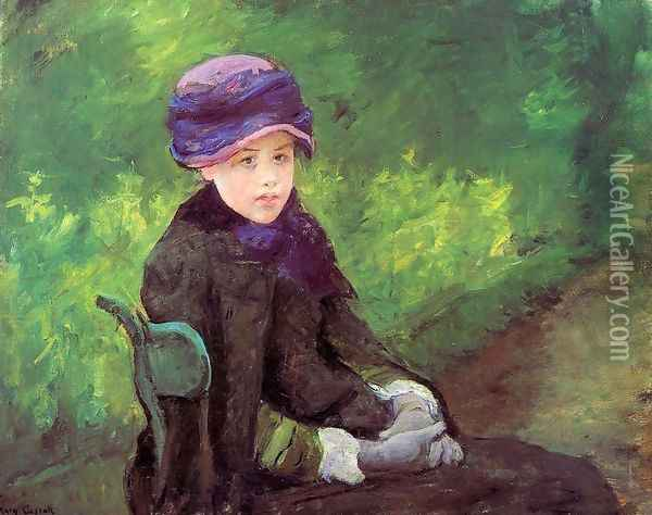 Susan Seated Outdoors Wearing A Purple Hat Oil Painting - Mary Cassatt