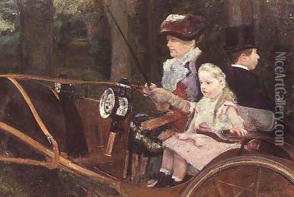 A woman and child in the driving seat, 1881 Oil Painting - Mary Cassatt