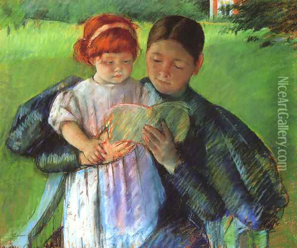 Nurse Reading To A Little Girl Oil Painting - Mary Cassatt