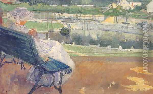 Lydia Seated On A Terrace Crocheting Oil Painting - Mary Cassatt