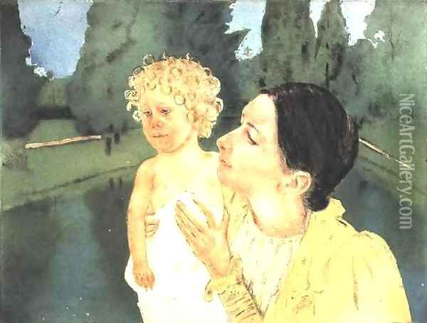 By The Pond Oil Painting - Mary Cassatt