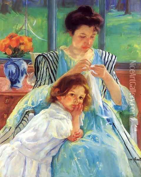 Young Mother Sewing Oil Painting - Mary Cassatt