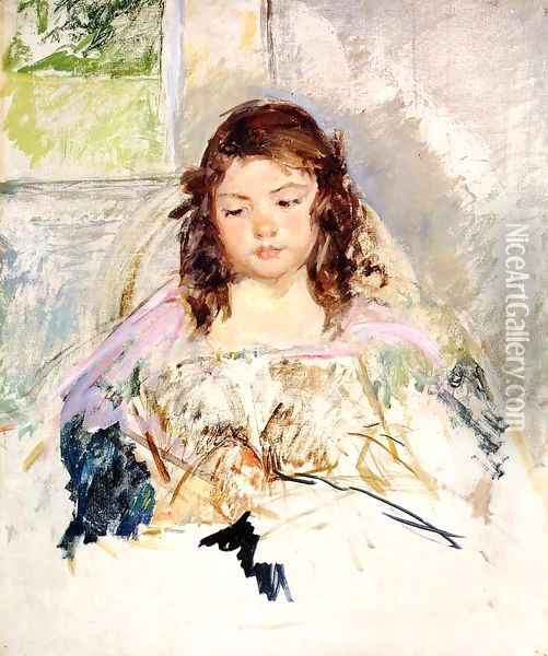 Sketch for 'Francoise in a Round-Backed Chair, Reading' or 'A Girl in Pink' c.1908 Oil Painting - Mary Cassatt