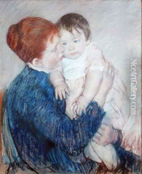 Agatha and Her Child, 1891 Oil Painting - Mary Cassatt
