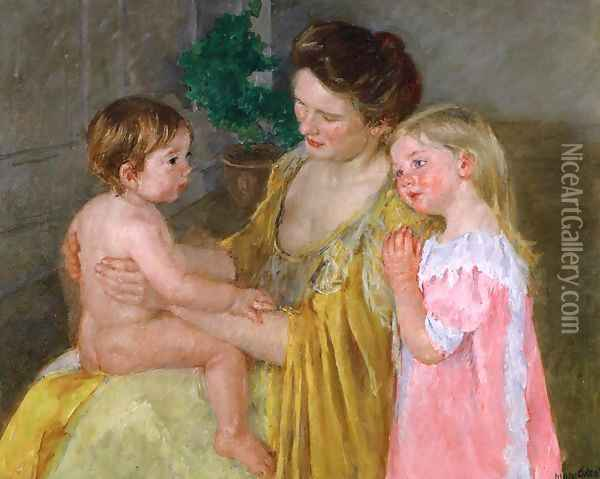 Mother And Two Children Oil Painting - Mary Cassatt