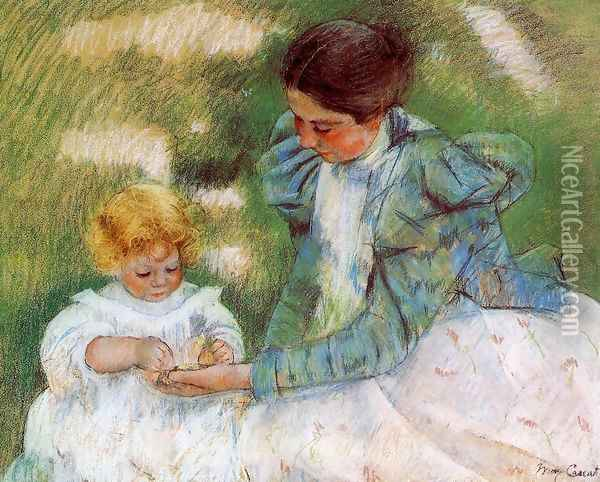 Mother Playing With Her Child Oil Painting - Mary Cassatt