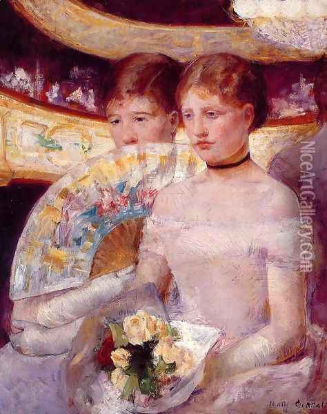 Two Women In A Theater Box Oil Painting - Mary Cassatt