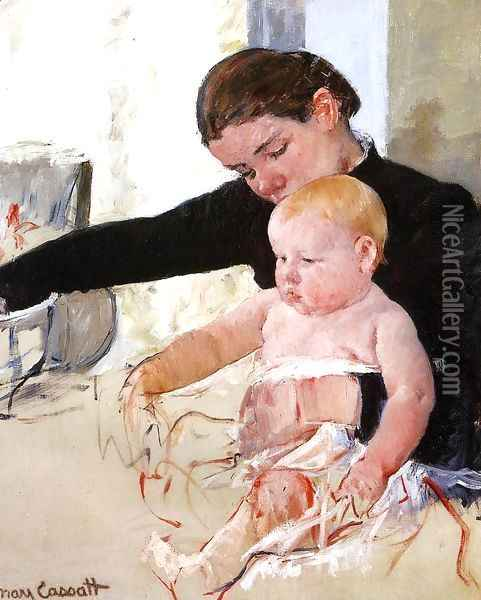Bathing The Young Heir Oil Painting - Mary Cassatt