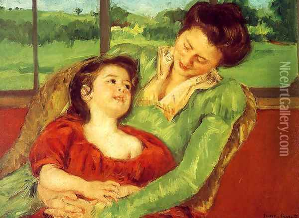 Reine Lefebre And Margot Before A Window Oil Painting - Mary Cassatt