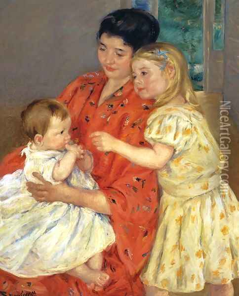 Mother And Sara Admiring The Baby Oil Painting - Mary Cassatt
