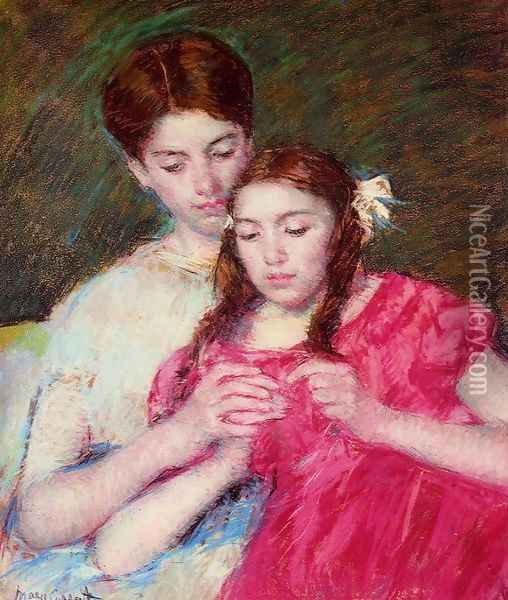 The Crochet Lesson Oil Painting - Mary Cassatt