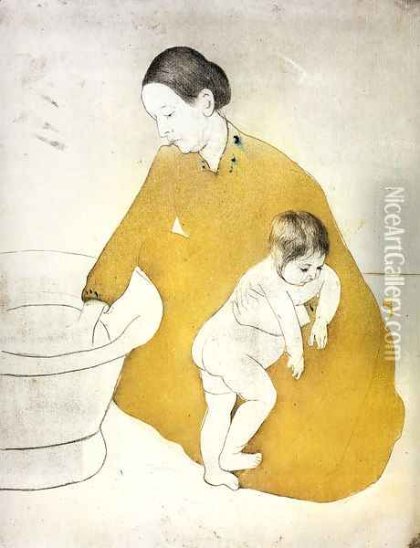 The Bath Oil Painting - Mary Cassatt
