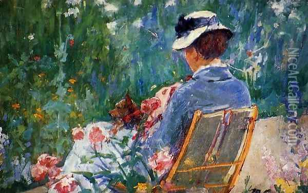 Lydia Seated In The Garden With A Dog In Her Lap Oil Painting - Mary Cassatt