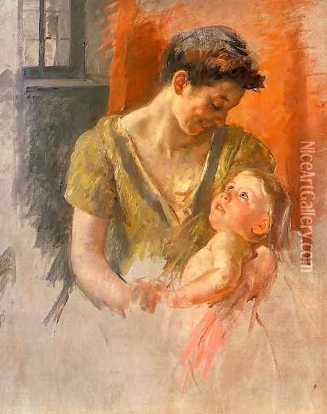 Mother And Child Smiling At Each Other Oil Painting - Mary Cassatt