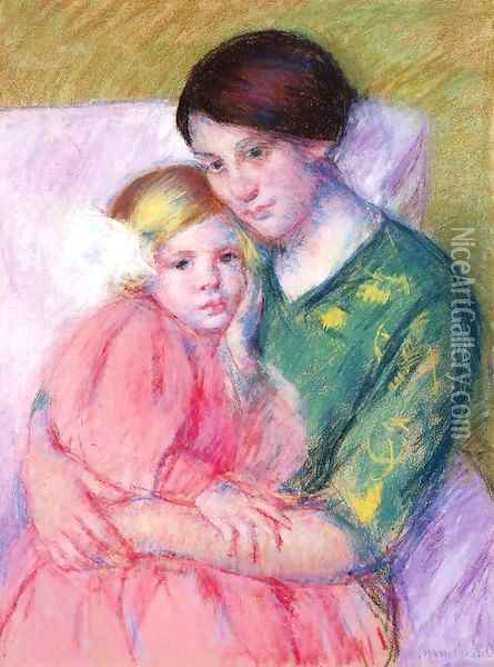 Mother And Child Reading Oil Painting - Mary Cassatt