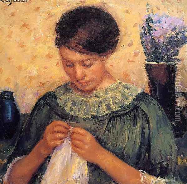 Woman Sewing Oil Painting - Mary Cassatt